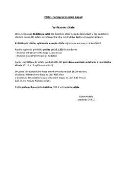 Oblastná hracia komisia Západ Vyhlásenie súťaže