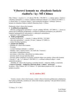 Výberové konanie na obsadenie funkcie riaditeľa / ky