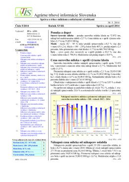 Správa o trhu s mliekom a mliečnymi výrobkami
