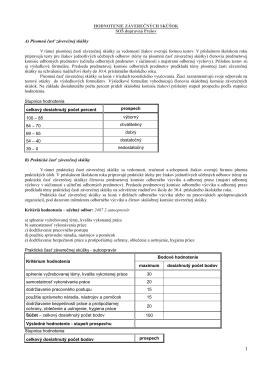 kritéria hodnotenia
