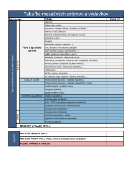 Tabuľka mesačných príjmov a výdavkov