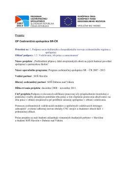 Projekty OP Cezhraničná spolupráca SR