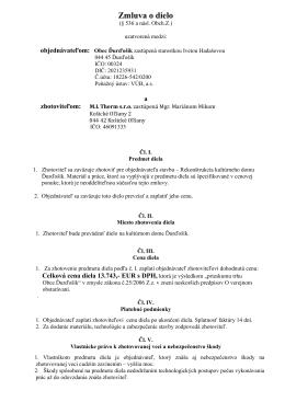 Zmluva o dielo - rok 2013