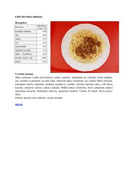 6.063 Hovädzie milánske Receptúra Výrobný postup Mäso