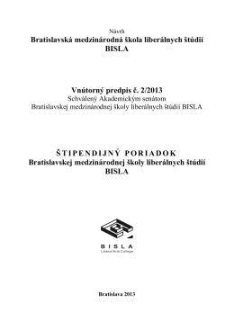 Štipendijný poriadok BISLA 2 /2013