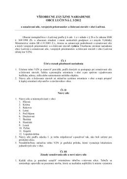 VZN č. 3/2012 o označovaní ulíc, verejných priestranstiev