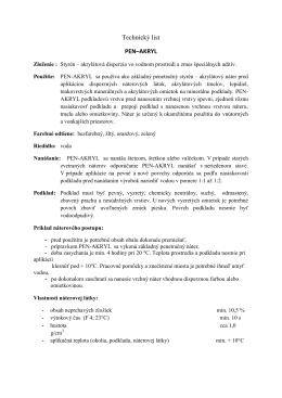 Technický list PEN–AKRYL