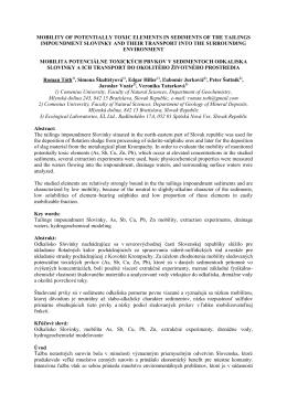 mobilita potenciálne toxických prvkov v sedimentoch odkaliska