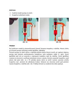 ZOSTAVA • Funkčný model pumpy na zdvih. • Kvapalina (zafarbená