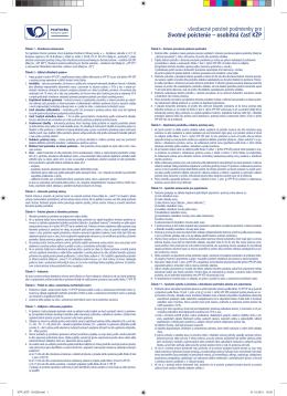 všeobecné poistné podmienky pre životné poistenie – osobitná časť