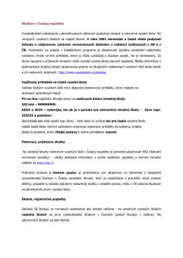 Štúdium v Českej republike Vysokoškolské vzdelávanie v