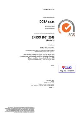 DCBA s.r.o. EN ISO 9001:2008 - data