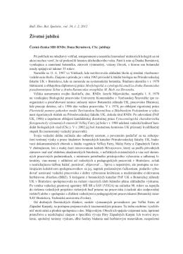 Životné jubileá - Slovenská botanická spoločnosť