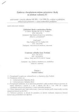 Zmluva s CVČ Trstená