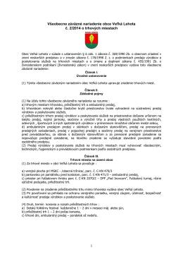 VZN č. 2/2014 o trhových miestach