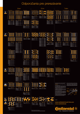 Tabuľka prerezávanie nákladných pneumatík Continental