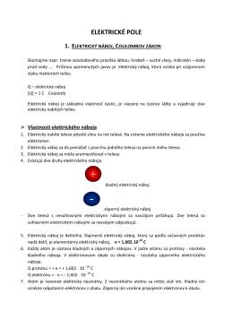 elektrické pole 1. elektrický náboj, coulombov zákon
