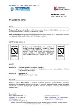 Polyuretán® Spray - polyurethanesystems.sk