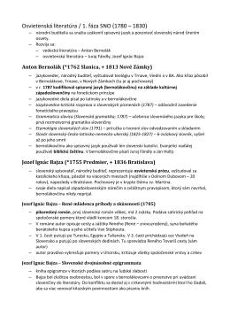 Osvietenská literatúra / 1. fáza SNO (1780 – 1830)