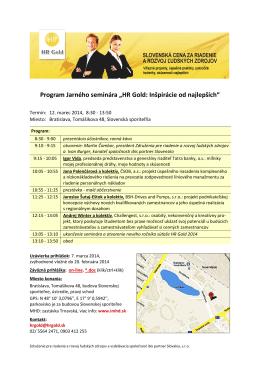 """Program Jarného seminára """"HR Gold: Inšpirácie od najlepších"""""""