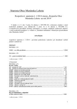 Zmena rozpočtu obce Muránska Lehota na rok 2014 rozpočtovým