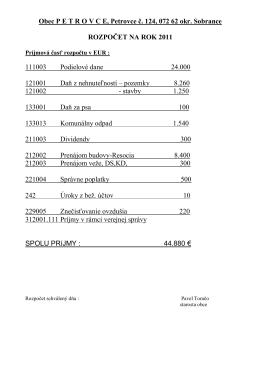 Rozpočet obce - r. 2011