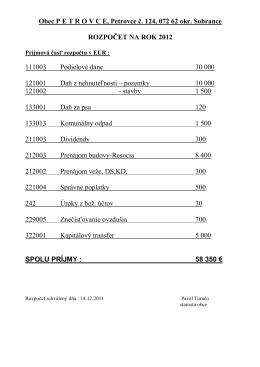 Rozpočet obce - r. 2012