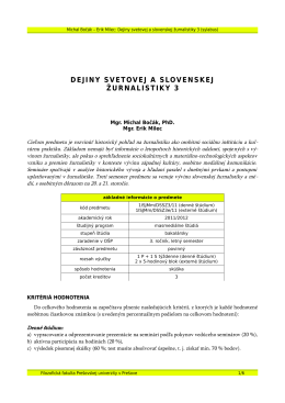 dejiny svetovej a slovenskej žurnalistiky 3 - Michal Bočák