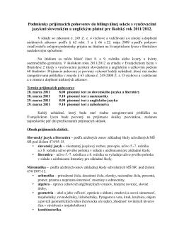 Podmienky prijímacích pohovorov do bilingválnej sekcie s