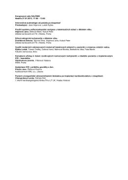 Kongresová sála SALÓNIK Nedeľa 27.01.2013, 11:00 – 13:00