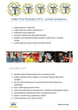 Golden Tour Bratislava 2013 - ponuka spolupráce
