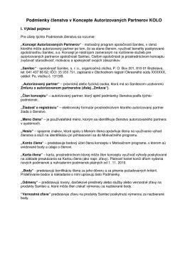 Podmienky členstva v Koncepte Autorizovaných Partnerov KOLO