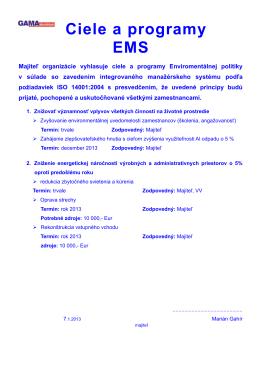 Ciele a programy EMS 2013