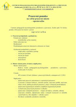Pracovná ponuka - CPPPaPKE Zuzkin
