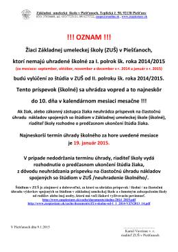 Oznam o úhradách školného za I. polrok 2014/2015