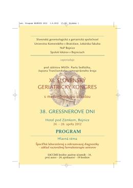 program kongresu - Slovenská Gerontologická a Geriatrická