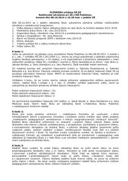 Zápisnice z plenárnej schôdze dňa 8. októbra 2014