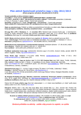 Plán aktivít Spoločnosti priateľov jogy v roku 2012/2013