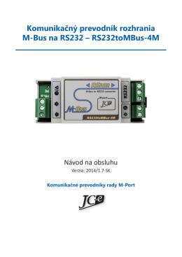 Komunikačný prevodník rozhrania M-Bus na RS232