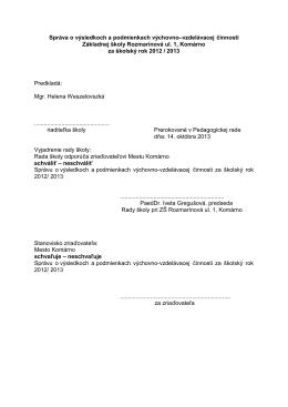 školský rok 2012/2013 - Základná škola Rozmarínová Komárno