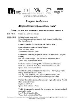 """Program konference """"Regionální rozvoj a"""