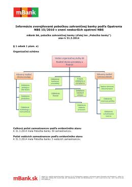 Informácie zverejňované pobo NBS 15/2010 v verejňované