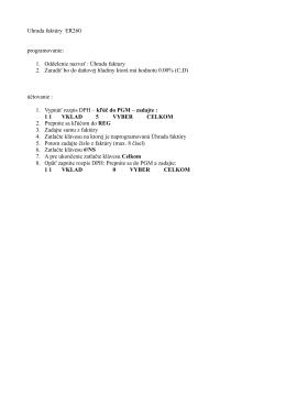 Uhrada faktúry ER260 programovanie: 1. Oddelenie nazvať