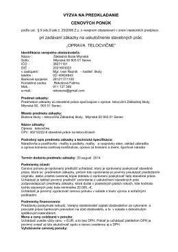 OPRAVA TELOCVIČNE - Základná škola • Mlynská 50, Senec