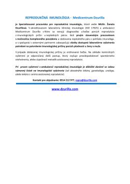 REPRODUKČNÁ IMUNOLÓGIA - Medicentrum - GYN
