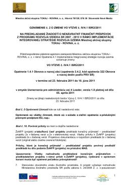 Oznámenie II. o zmene vo výzve č. IV/4.1 ISRÚ/2011 - Tokaj