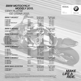 BMW MOTOCYKLY: MODELY 2015. CENY PLATNÉ OD LEDNA