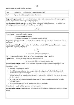 Téma Vyparovanie a var kvapaliny. Krivka nasýtenej
