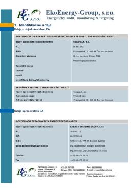 1. Identifikačné údaje - EkoEnergy