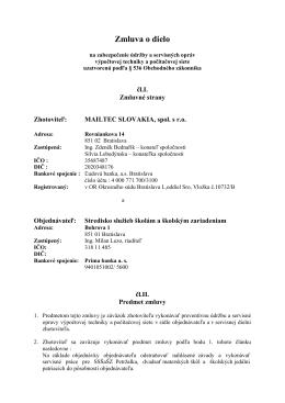 Zmluva o dielo - Stredisko služieb školám a školským zariadeniam